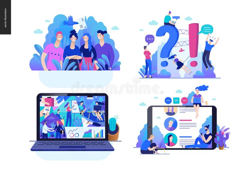 Business series - set. Business series set, color 2 -modern flat vector concept illustrated topics - about the company, faq - support, office life, reviews stock illustration
