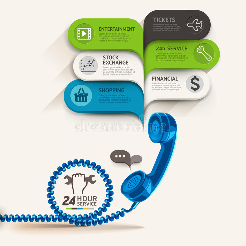 Business service icons and telephone with bubble speech template vector illustration