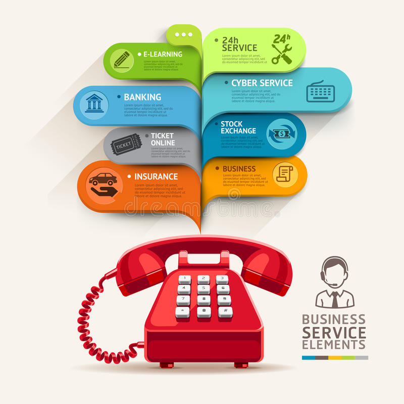 Business service icons and telephone with bubble speech template. Can be used for workflow layout, diagram, number options, step up options, web design, banner stock illustration