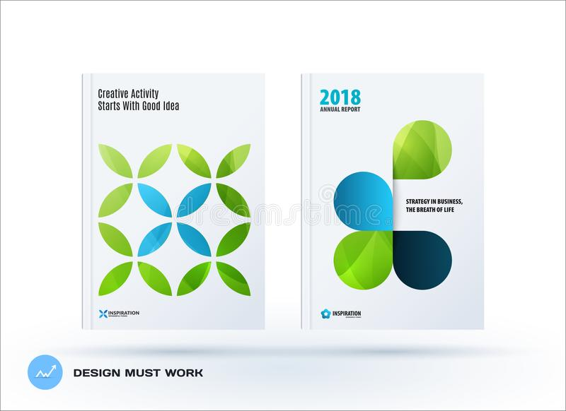Business set of design brochure, abstract annual report, horizontal cover flyer in A4. With turquoise colourful circle segments, flower shape for promotion royalty free illustration