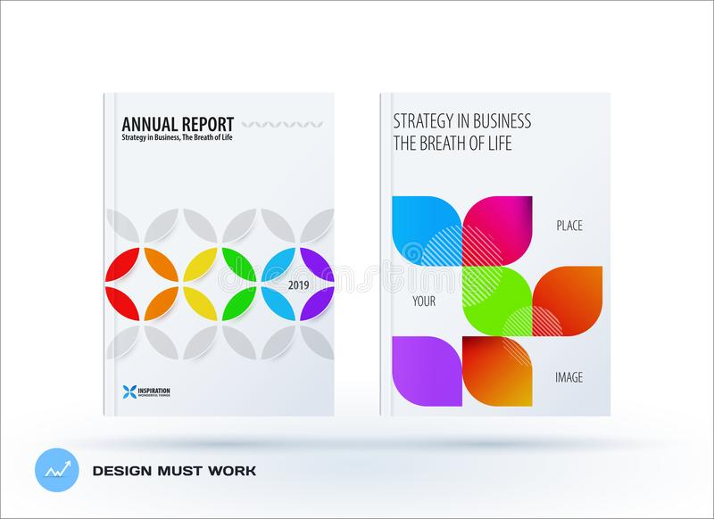 Business set of design brochure, abstract annual report, horizontal cover flyer in A4. With colourful circle segments, flower shape for promotion, advertisement vector illustration
