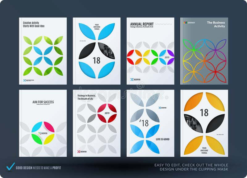Business set of design brochure, abstract annual report, horizontal cover flyer in A4. With colourful circle segments, flower shape for promotion, advertisement royalty free illustration