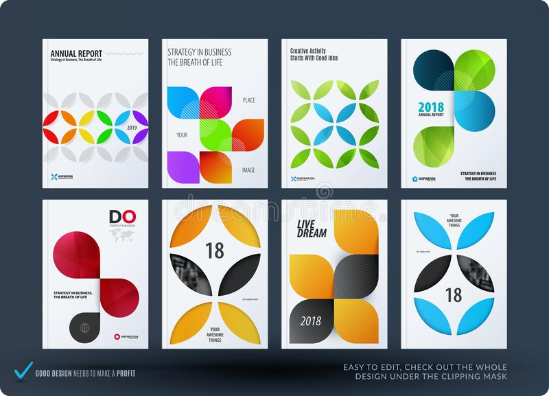 Business set of design brochure, abstract annual report, horizontal cover flyer in A4. With colourful circle segments, flower shape for promotion, advertisement stock illustration