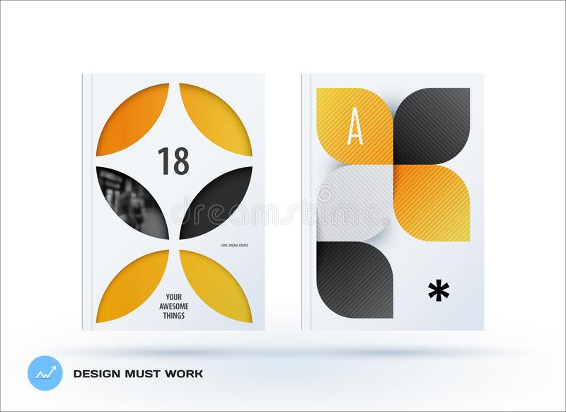 Business set of design brochure, abstract annual report, horizontal cover flyer in A4. With colourful yellow circle segments, flower shape for promotion vector illustration