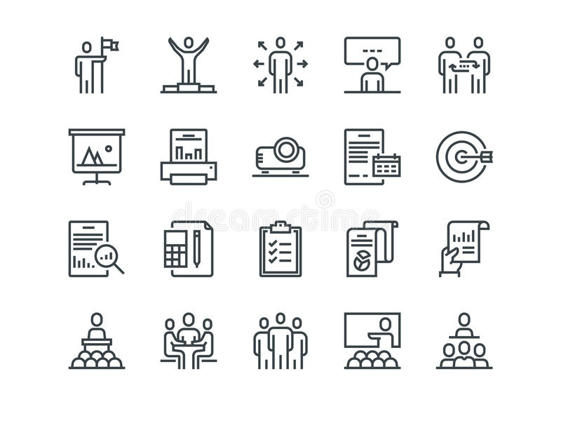 Business. Set of outline vector icons. Includes such as Business Meeting, Handshake, Agreement, One on One Meeting and. Other vector illustration