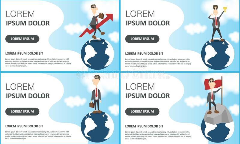 Business set of posters on blue. Vector illustration of best idea winner, men planning new project, businessmen on Earth globe and vector illustration