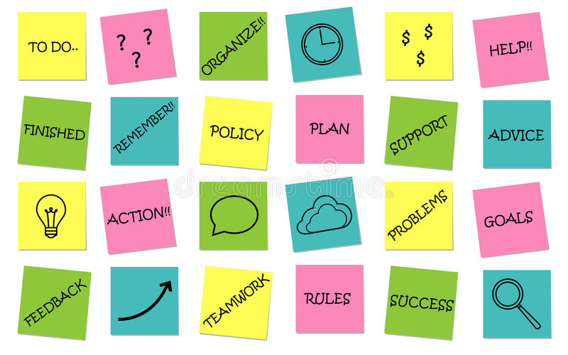 Business set of sticky notes messages. Vector vector illustration
