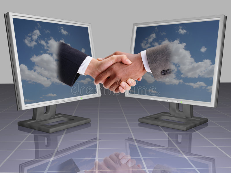 BUSINESS SHAKE HANDS. Business and technology, feel free in business, two business man shake hands, business shake hand and laptops, agreement in business