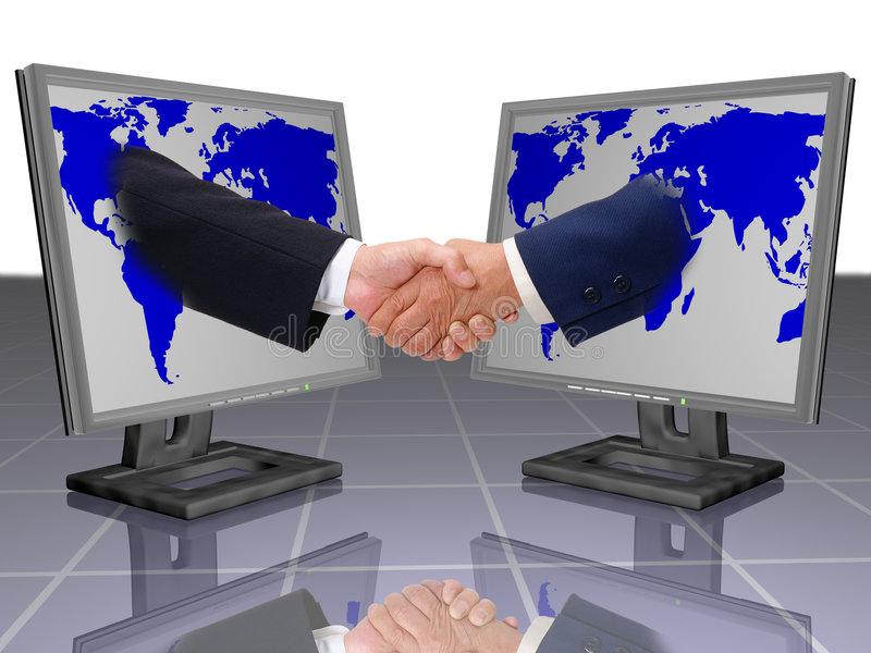 BUSINESS SHAKE HANDS. Business and technology, feel free in business, two business man shake hands, business shake hand and lcd monitor, agreement in business