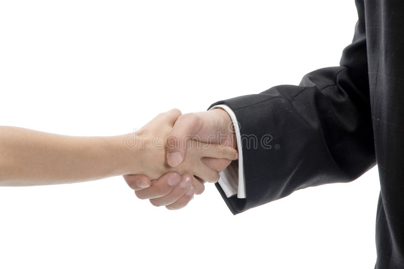 Business shake hands. Against white background stock photo