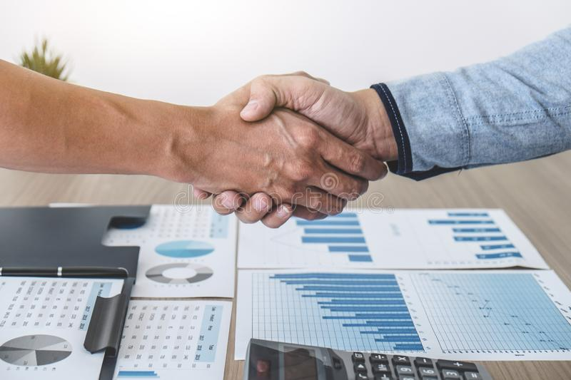 Business shaking hands after discussing good deal of Trading to sign agreement and become a partner, contract for both companies,. Successful business royalty free stock photography