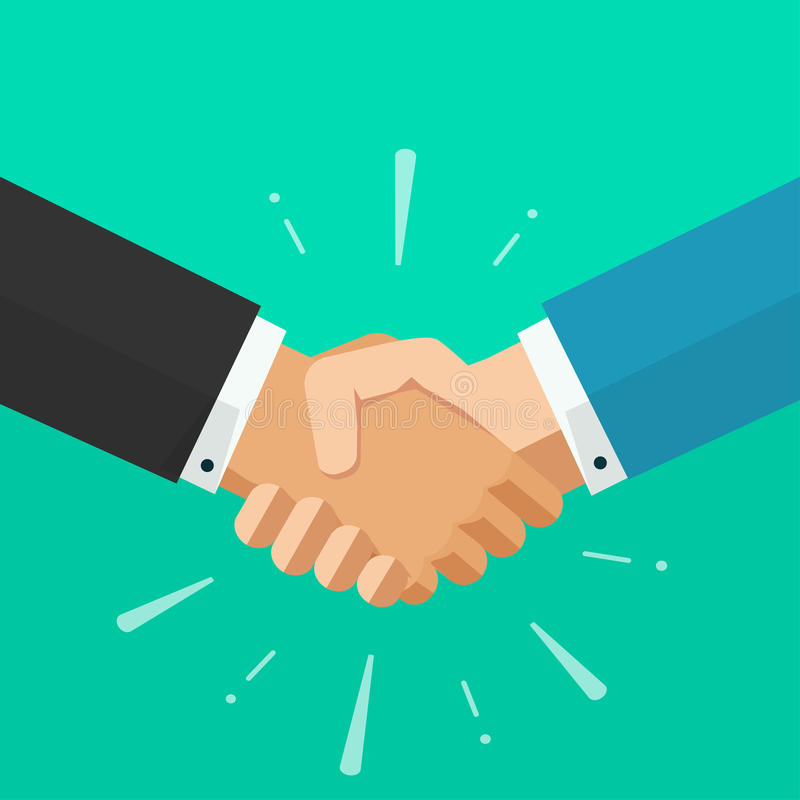 Business shaking hands vector, symbol of success deal, happy partnership. Shaking hands business vector illustration with abstract rays, symbol of success deal vector illustration