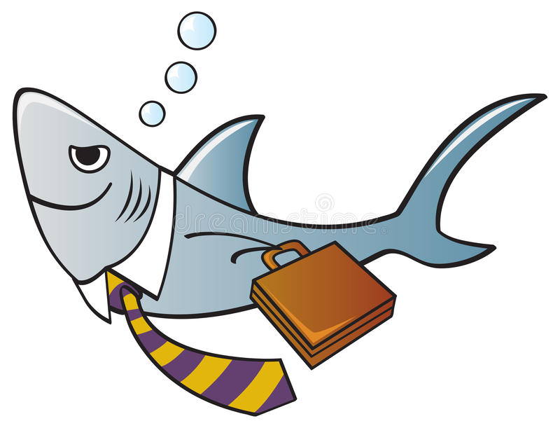 Business Shark. A shark dressed as a businessman with a tie and briefcase stock illustration
