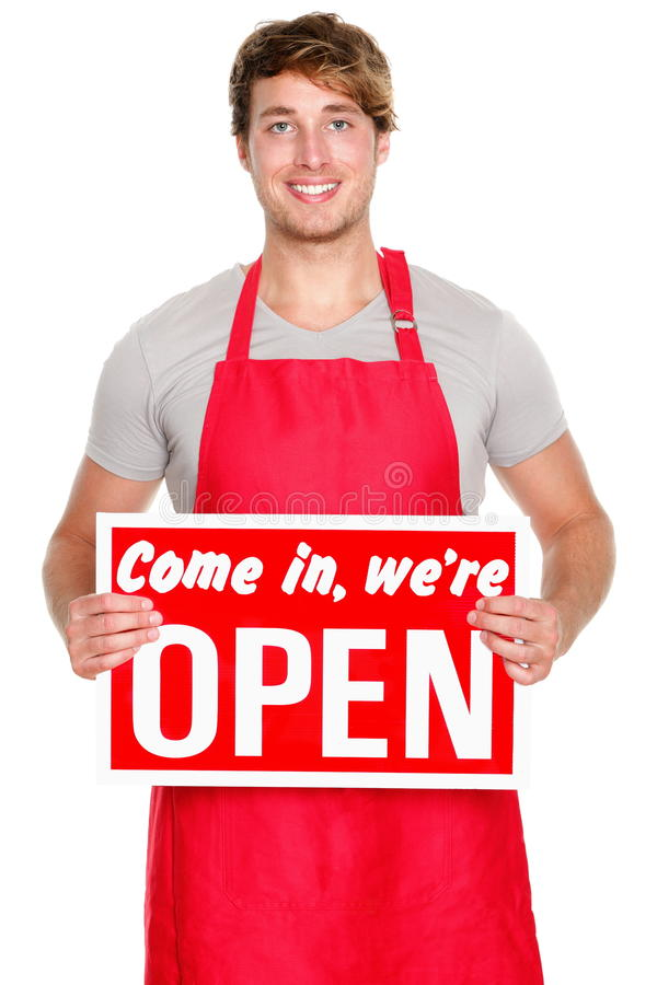 Download Business Shop Owner Showing Open Sign Stock Photography - Image: 22674762