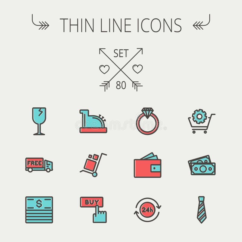 Business shopping thin line icon set royalty free illustration