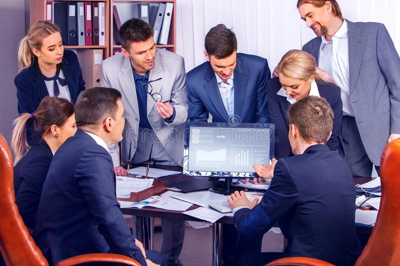 Business simple decision of team of professionals. Business people office life of team people working with papers sitting table . Simple decision of team of stock photography
