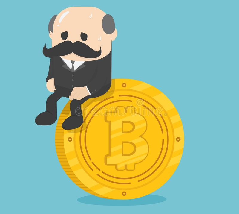 Business sitting on coins bitcoin, critical bitcoin depressing royalty free illustration