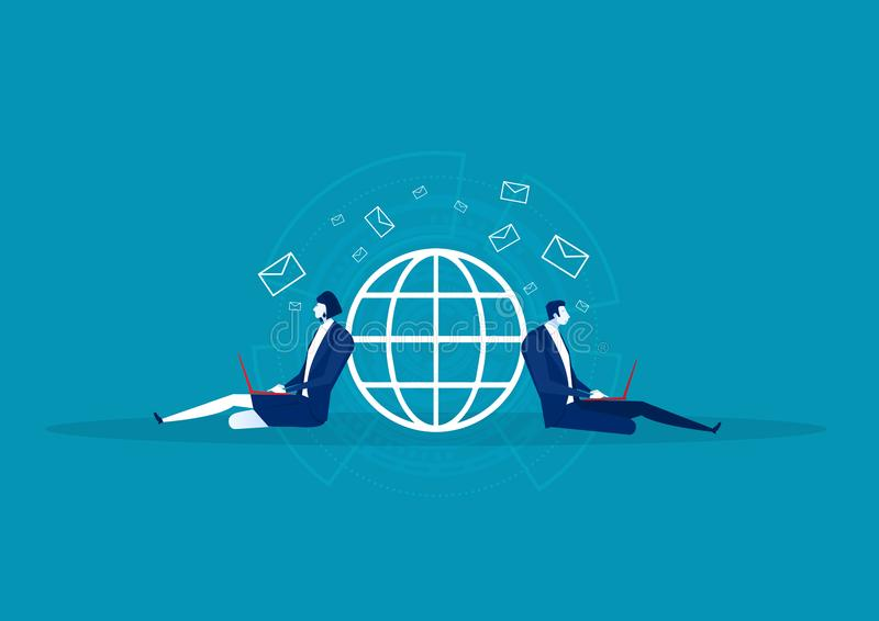 Business sitting for send email on network world wide. royalty free illustration