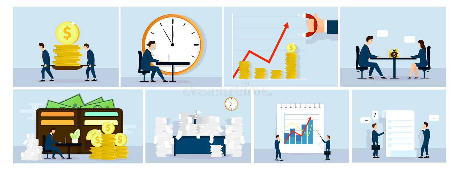 Business situation concept , business people at work. Graphics , talking, make money, Paper work. Fan illustration. Vector. Business situation concept , business vector illustration