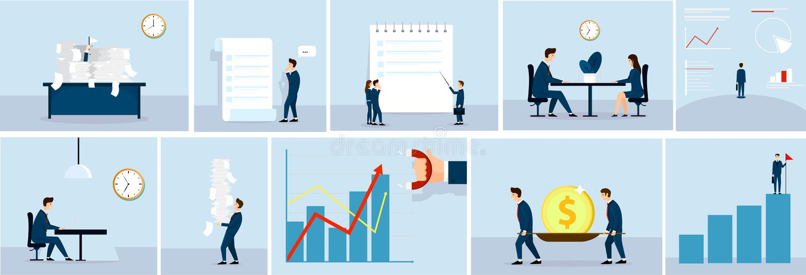 Business situation concept , business people at work.Paper work. Fan illustration. Graphics , talking, make money, Vector. Business situation concept , business vector illustration