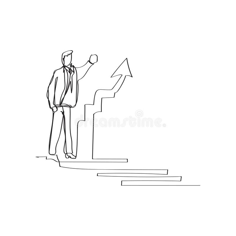 business situation - standing businessman presenting rising charts in continuous line drawing style, thin linear vector royalty free illustration