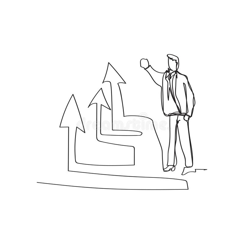 business situation - standing businessman presenting rising diagram in continuous line drawing style, thin linear vector vector illustration
