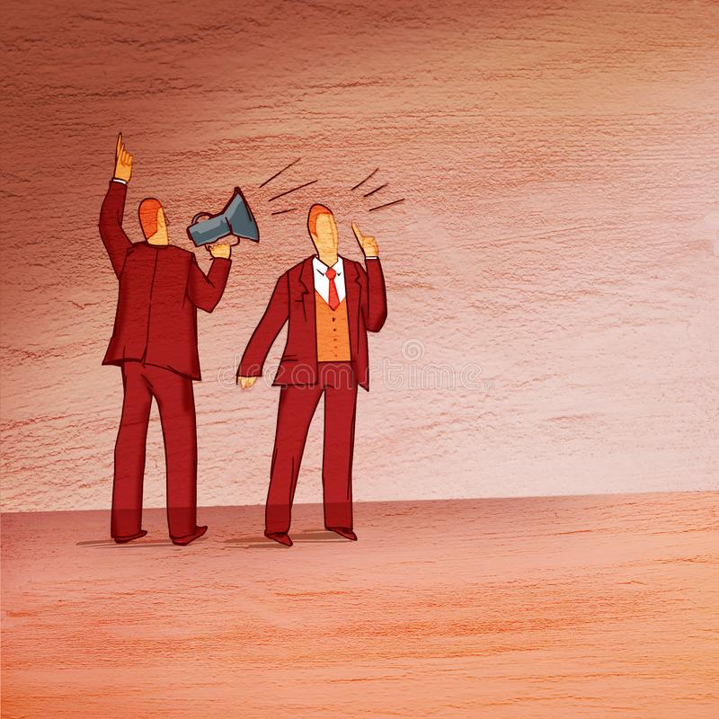 Business situation: standing with his back to the viewer, a man with a horn and a man`s face is loudly ordered. On a textured back. Ground vector illustration