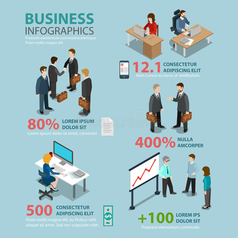 Business situations flat infographics: meeting reception royalty free illustration