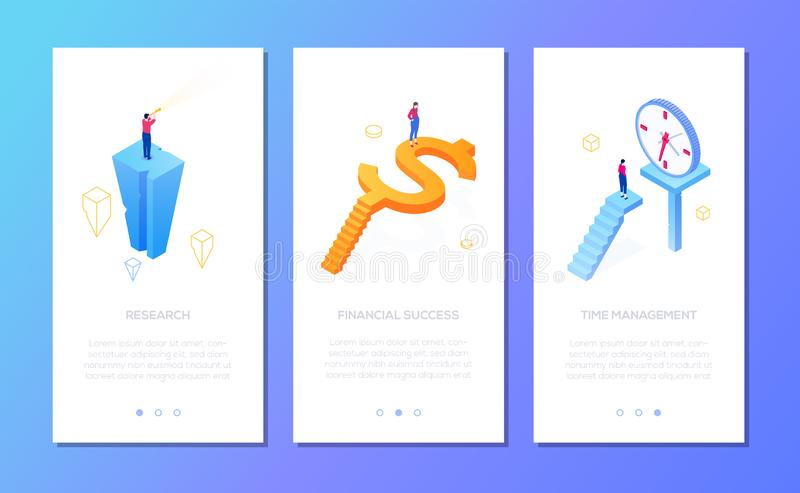 Business situations - set of isometric vector vertical web banners vector illustration