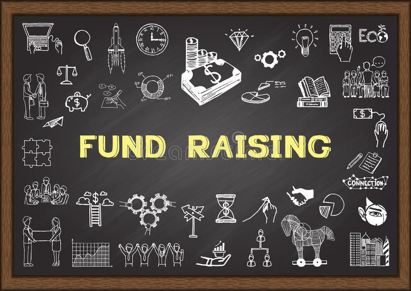 Business sketch about fund raising on chalkboard. vector illustration