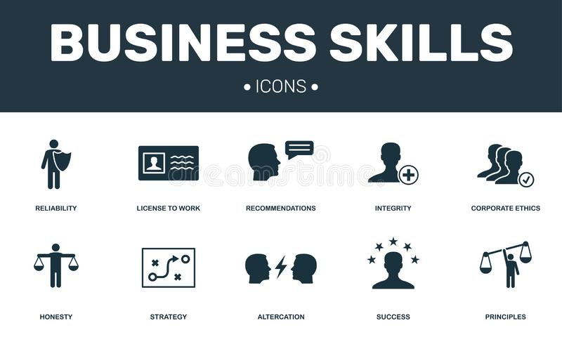 Business Skills set icons collection. Includes simple elements such as Integrity, Corporate Ethic, Altercation and Strategy. Premium icons stock illustration