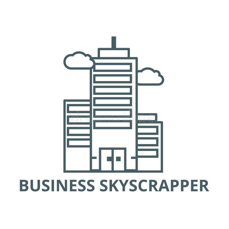Business skyscrapper line icon, vector. Business skyscrapper outline sign, concept symbol, flat illustration. Business skyscrapper line icon, vector. Business royalty free illustration