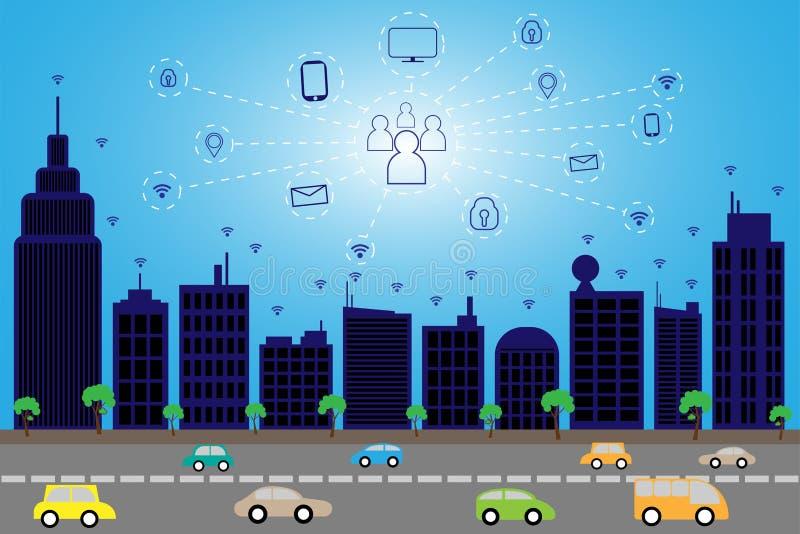 City1-01. Business smart city concept .business communication.city life.Capital.downtown.transportation. blue building royalty free illustration