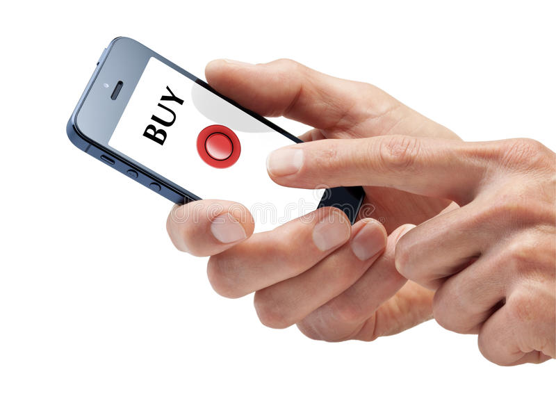 Business Cellphone Buy Hands Online Shopping. Hands using a smartphone about to push the buy button isolated on white