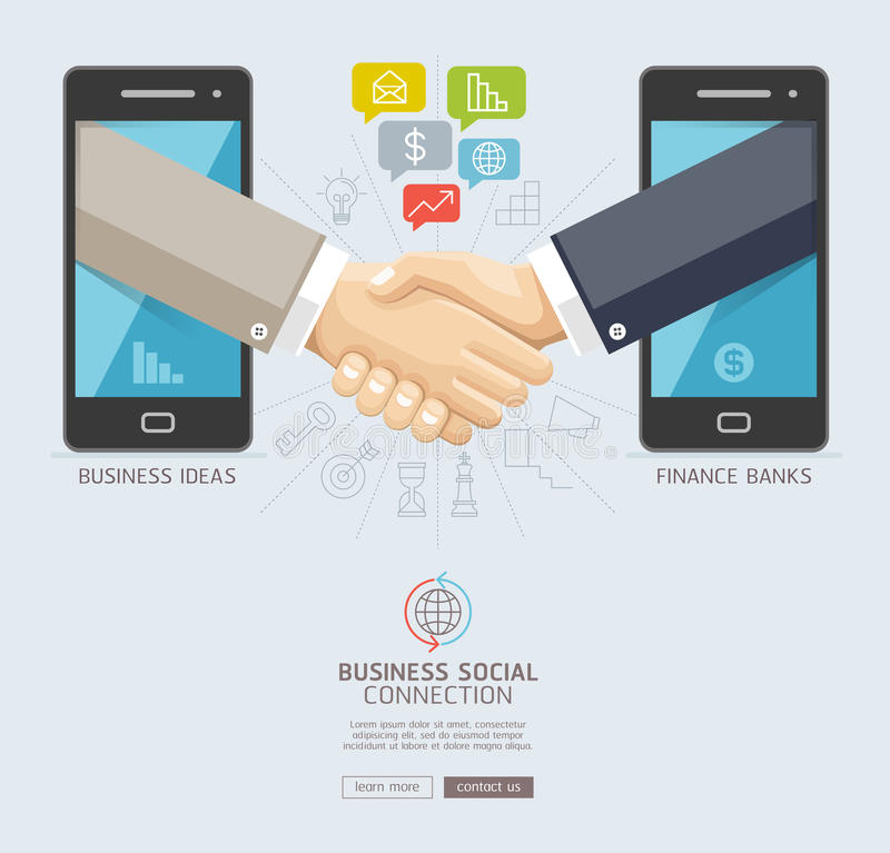 Business social connection technology conceptual design. Mobile. And business handshake agreement through display of a smart phone. Vector illustrations royalty free illustration