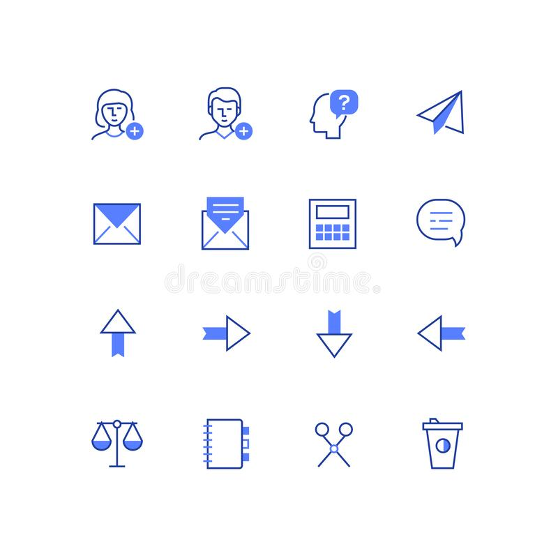 Business and social media - line design style icons set vector illustration