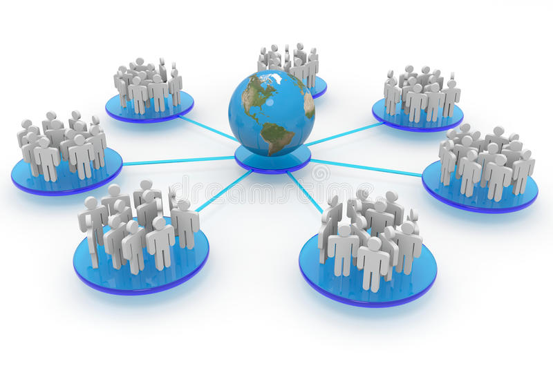 Business or social network. Concept. Business or social network. Computer generated image stock illustration