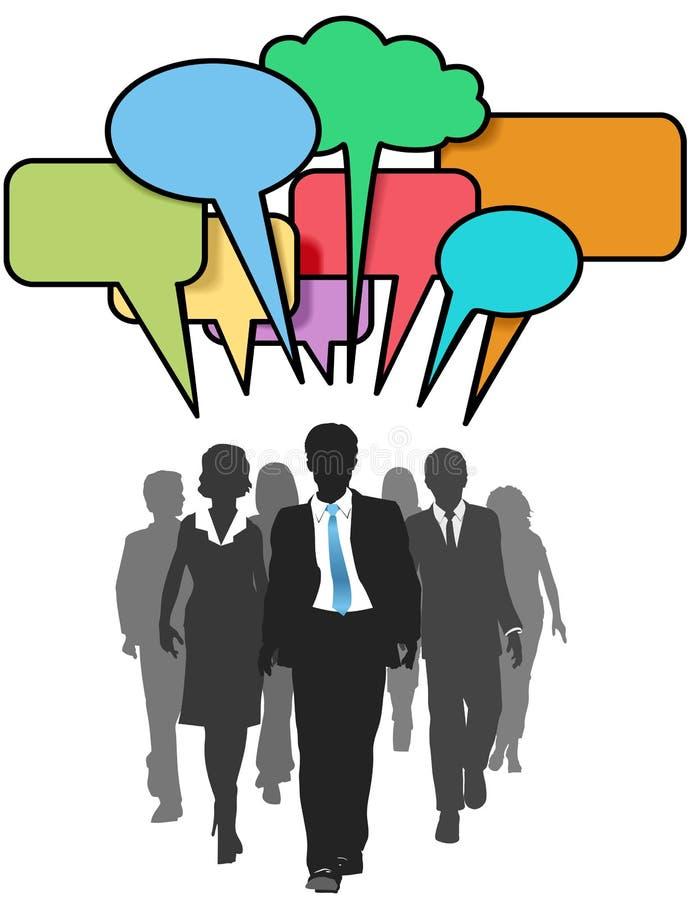 Business social people walk talk color bubbles stock illustration