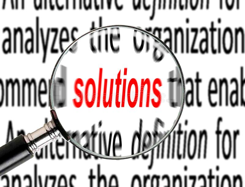 Business solution. Image of solution been magnify from sentence stock photos