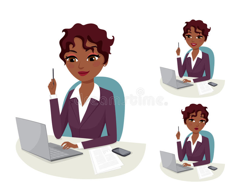 Business solution. Attractive business woman working on her laptop computer, thinking on a solution royalty free illustration
