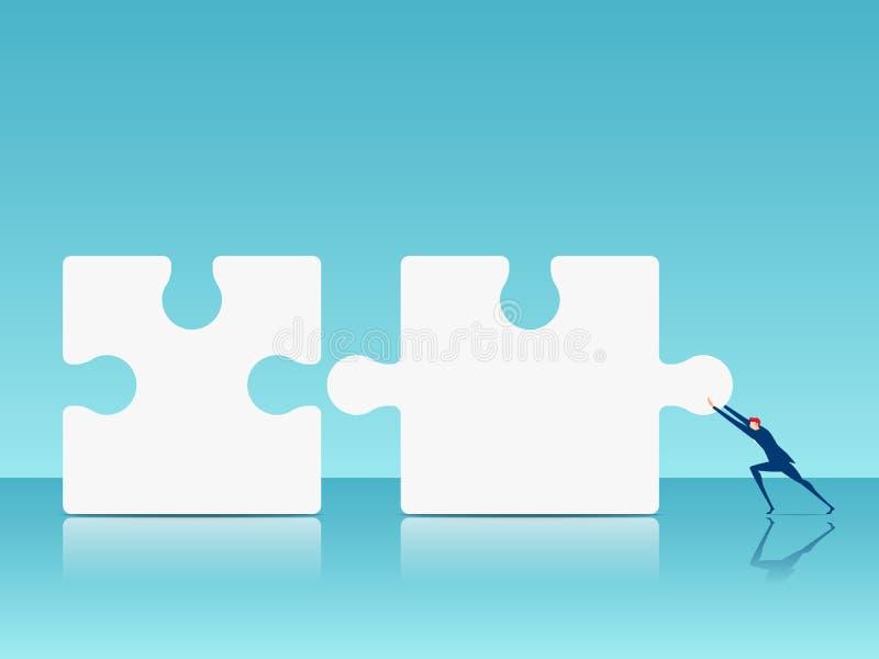 Business solution concept. Businessman pushing combine puzzle pieces. Cartoon Vector Illustration vector illustration