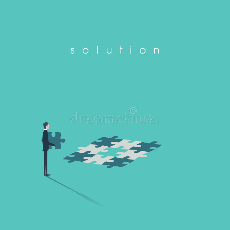 Business solution concept vector illustration with businessman building jigsaw puzzle. royalty free illustration