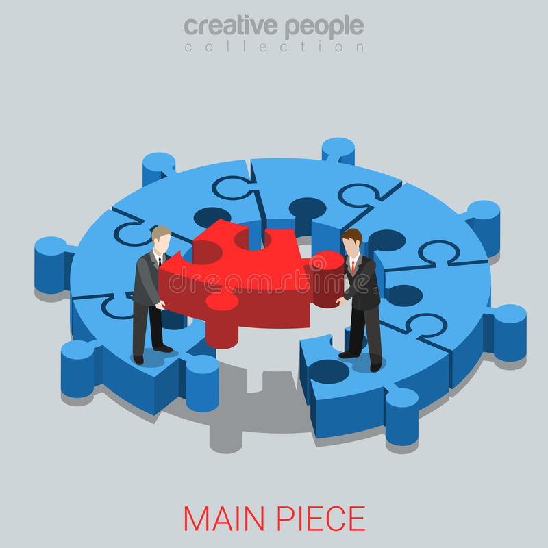 Business solution main peice puzzle flat 3d isometric vector. Business solution main peice flat 3d isometry isometric concept web vector illustration. Micro stock illustration