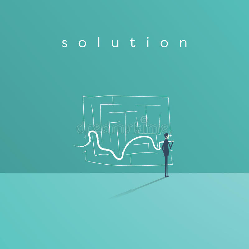 Business solution and success concept vector symbol with businessman drawing line through maze or labyrinth. vector illustration