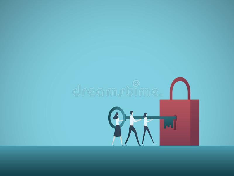 Business solution teamwork vector concept. Business team colleagues unlock padlock with key. Symbol of cooperation royalty free illustration
