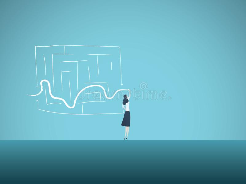 Business solution vector concept with business woman finding way through maze. Symbol of genius, intelligent woman. Challenge, opportunity, planning, strategy royalty free illustration