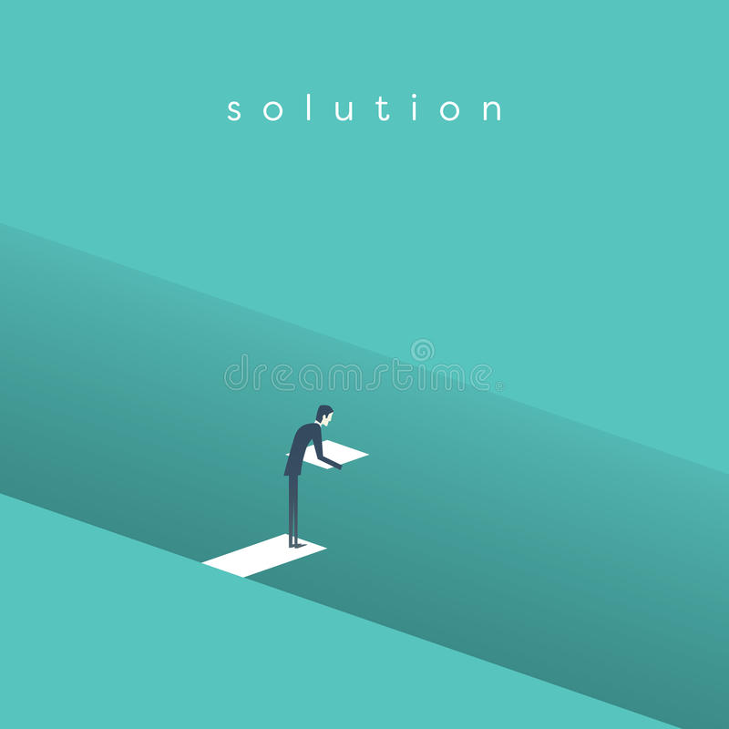 Free Business Solution Vector Concept With Businessman Building Bridge Over Deep Hole. Symbol Of Business Innovation Royalty Free Stock Image - 86540536