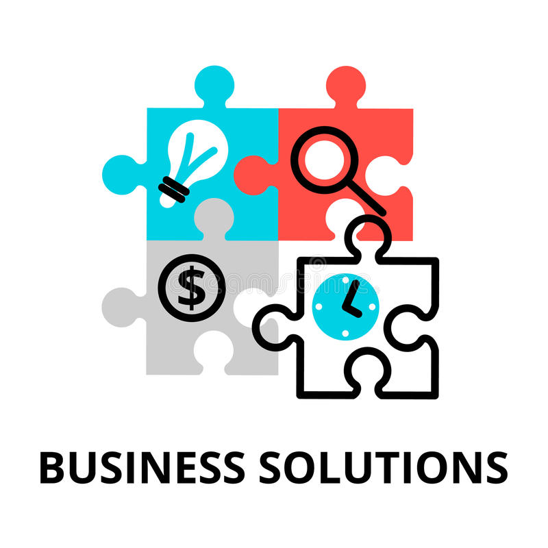 Line Design Solutions : Business solutions icon for graphic and web design stock