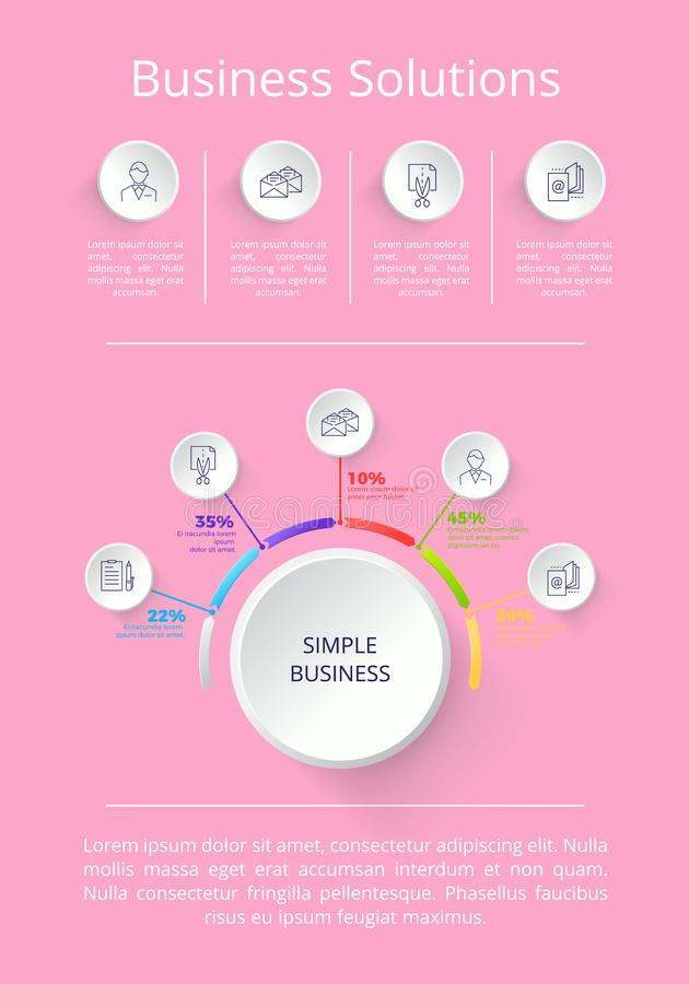 Business Solutions Pink on Vector Illustration. Business solution icons and explanatory information below them, percentage to represent constituent parts vector royalty free illustration