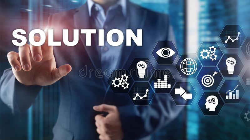 Business solutions, success and strategy concept. Structuring virtual diagram of business process with solutions. Business solutions, success and strategy stock photo